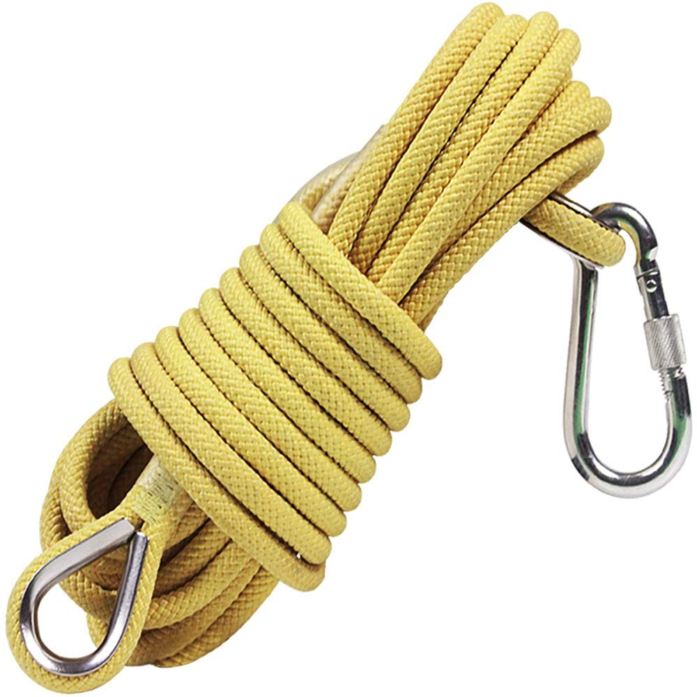 YX Xuan Yuan Rope- Safety Rope Wear-Resistant Household Escape Rope Outdoor Climbing Rope Fire Safety Rope Outdoor Safety Rope Aerial Work Bundled Rope Work Rope, Yellow 11mm, 4 Sizes //////