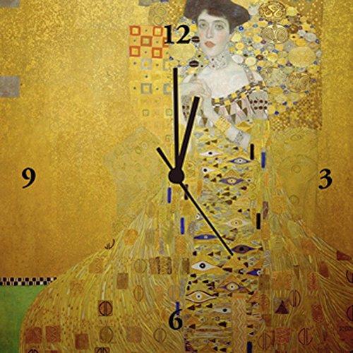 Artland Analoge Wand-Funk-oder Quarz-Uhr Digital-Druck Leinwand auf Holz-Rahmen gespannt mit Motiv Gustav Klimt Bloch-Bauer Menschen Frau Malerei Gelb B5LR