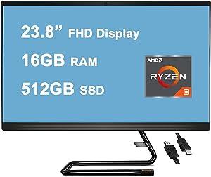 "Flagship 2020 Lenovo IdeaCentre 3 All in one Desktop Computer 23.8"" FHD Display AMD 4-Core Ryzen 3 4300U(Beat I5-8365U) 16GB RAM 512GB SSD 720P Webcam DVD WiFi Bluetooth Win10 + iCarp HDMI Cable"