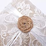 Amajoy Vintage Rustic Burlap Lace Wedding Ring