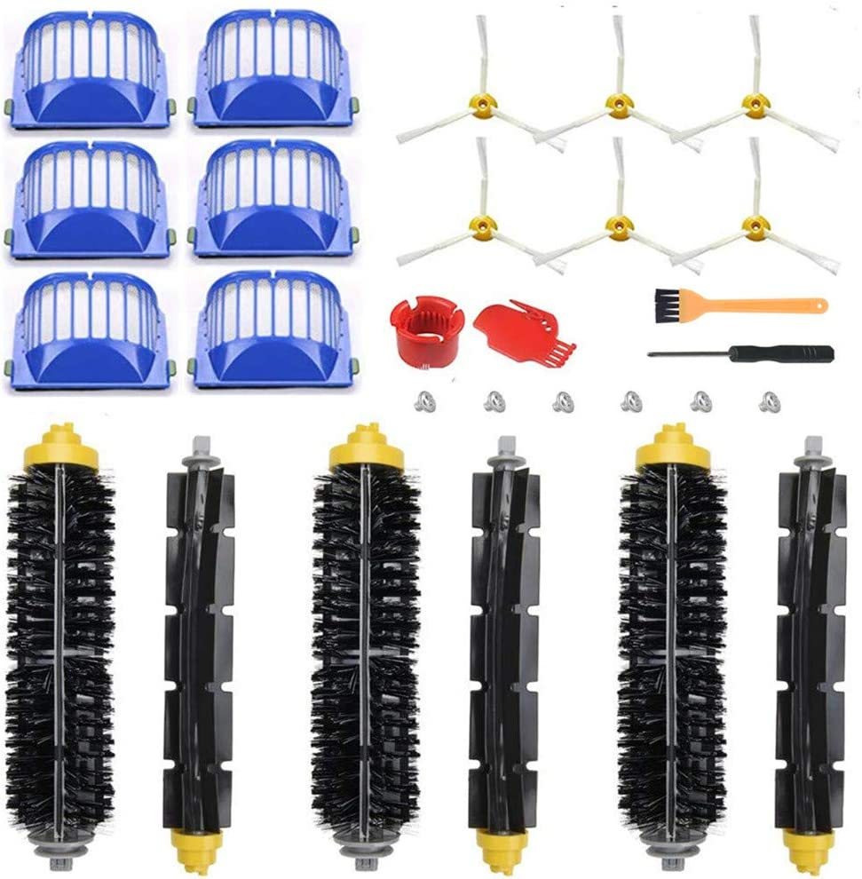 Replacement Accessories Kit for iRobot Roomba 600 Serie 595 614 620 630 650 651 652 660 675 680 690(Not for 645 655),6 Filter,6 Side Brush,3 Pairs Bristle and Flexible Beater Brush