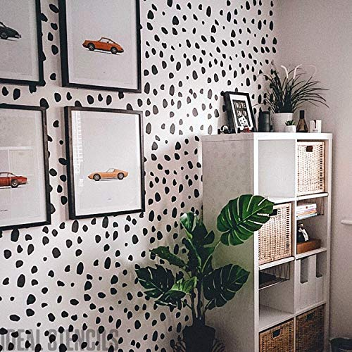 Large Stencil for Wall Painting Paint Bespoke Wallpaper Effects on Walls Dalmatian Spots Pattern Stencil Cost Effective Home Decor