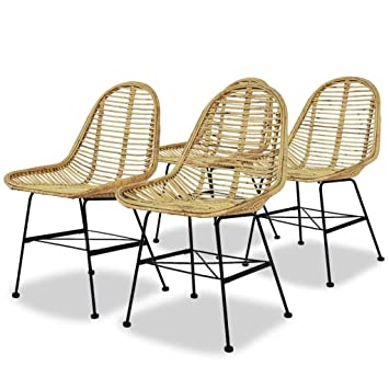 Amazon.com - Festnight Set of 4 Dining Chairs Natural Rattan Armless ...