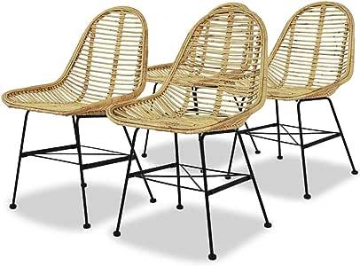 Dining Chairs 4 pcs Natural Rattan