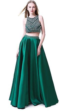 Sweetdresses Two Pieces Long Prom Dresses Rhinstone Jewel Evening Dress 2