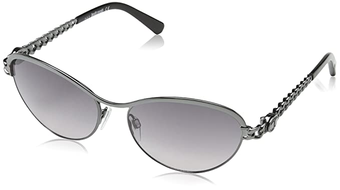 73dc44d76bba Just Cavalli JC594S Aviator Sunglasses, Grey Silver Pattered Frame / Silver Grey  Lens