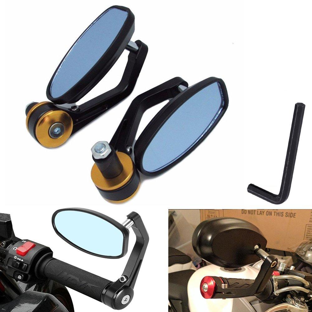 KaTur Rü ckspiegel fü r Motorrad, Spiegel fü r Yamaha Honda Triumph Ducati Suzuki Remasuri, Universalspiegel fü r 22-mm-Griffe, Aluminiumlegierung, runde Form UPC