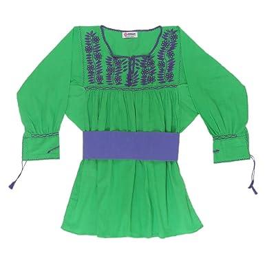 0b52e5313 Mexican Clothing Co Womens Mexican Blouse Amatenango Light Manta X-Small  Green 3833