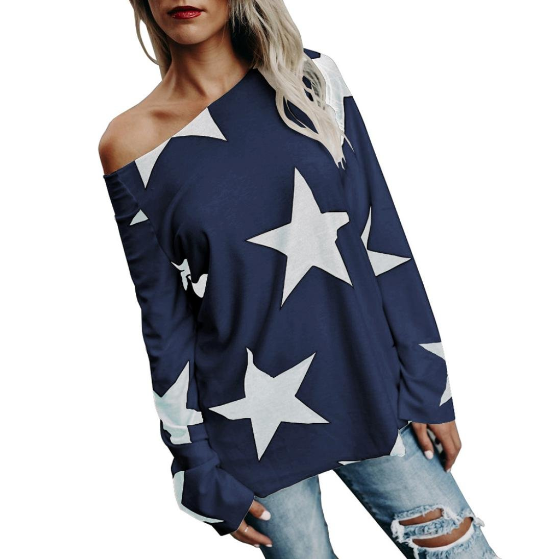 Malloom® Sweatshirt Damen Bluse Elegant Sterne Drucken Shirt Herbst Trägerlos Langarmshirts Locker Hemd Jumper Pullover Tops Oberteile