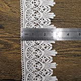 Trimscraft 5 Yards 3 Inches Wide Venise Cotton Lace Trims Eyelet Fabric For Garment Accessory DIY Craft Supply In White