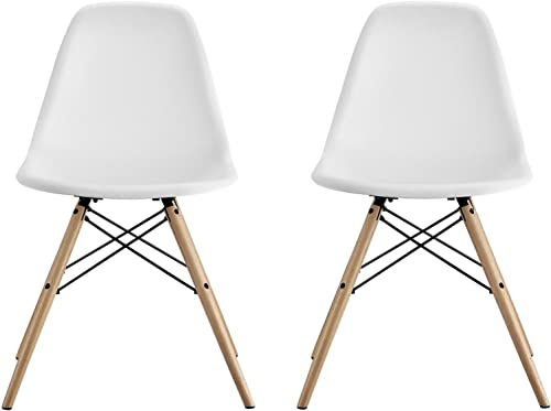 DHP Mid Century Modern Chairs with Wood Legs, White, Set of 2