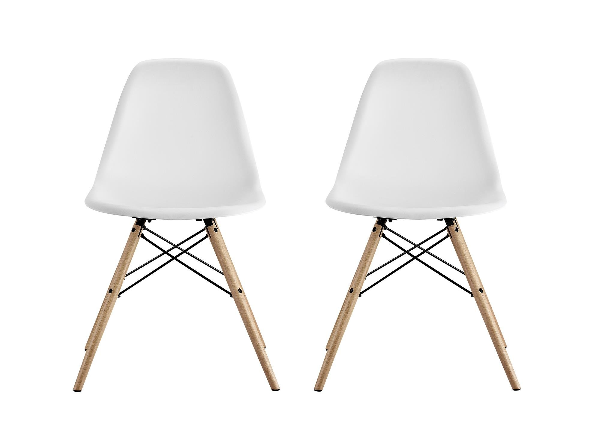 DHP Mid Century Modern Chair with Wood Legs, Set of Two, Lightweight, White
