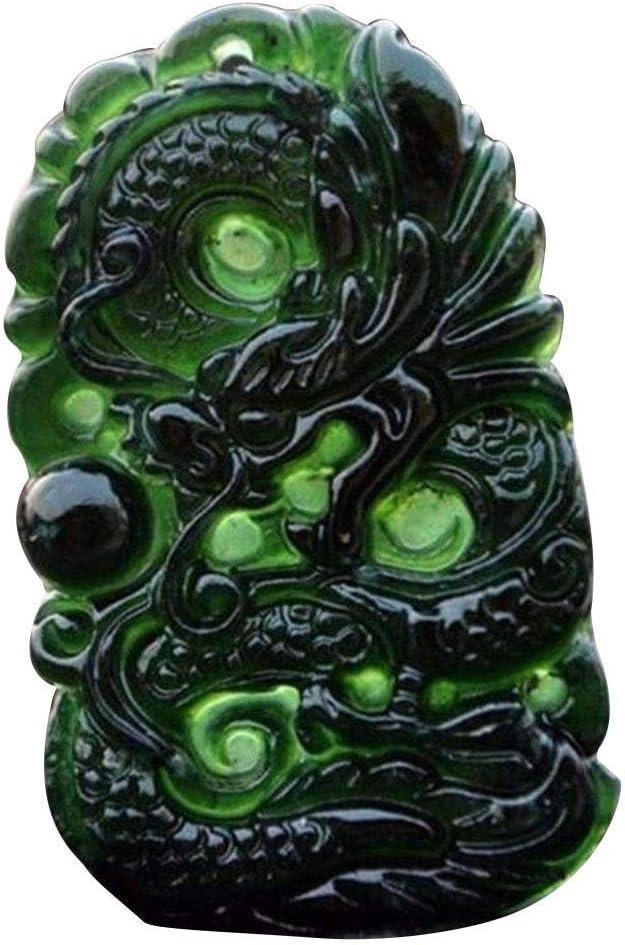 Decorazione da scrivania per Ufficio Studio di Artigianato Amuleto di buona Fortuna starter Cina Natural Black Green Jade Pendant a Forma di Drago di Giada Lavorata a Mano