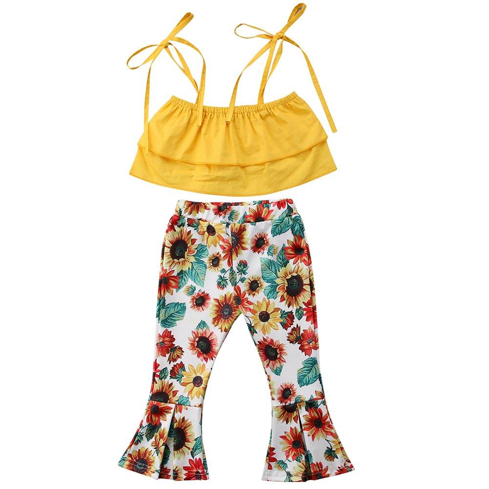 Newborn Baby Girl Sunflower Tube Top+Lace Pompom Layered Tulle Short Pants+Headband