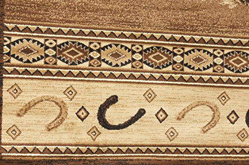 Rugs 4 Less Collection Horse Cowboy Western Cabin Style Lodge Area Rug Design R4L 372 (5'2''X7'2'')