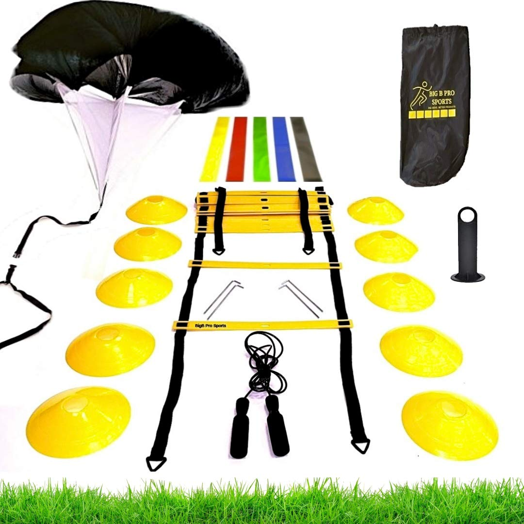 Premium Speed Agility Training Set - Equipment Kit Includes Ladder, 10 Cones with Holder, Running Parachute, Jump Rope, Resistance Bands - Football, Soccer, Basketball, Hockey, Training for Athletes by BIGB PRO SPORTS