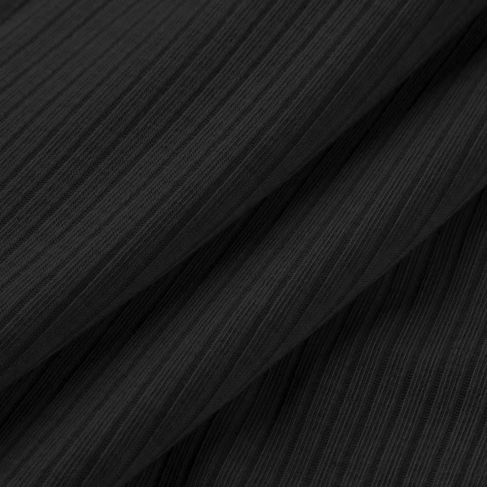 GIFC Women Autumn Cotton Solid Color Stripe Round Neck Long Sleeve Elasticity Tops Blouses Dress Skirt