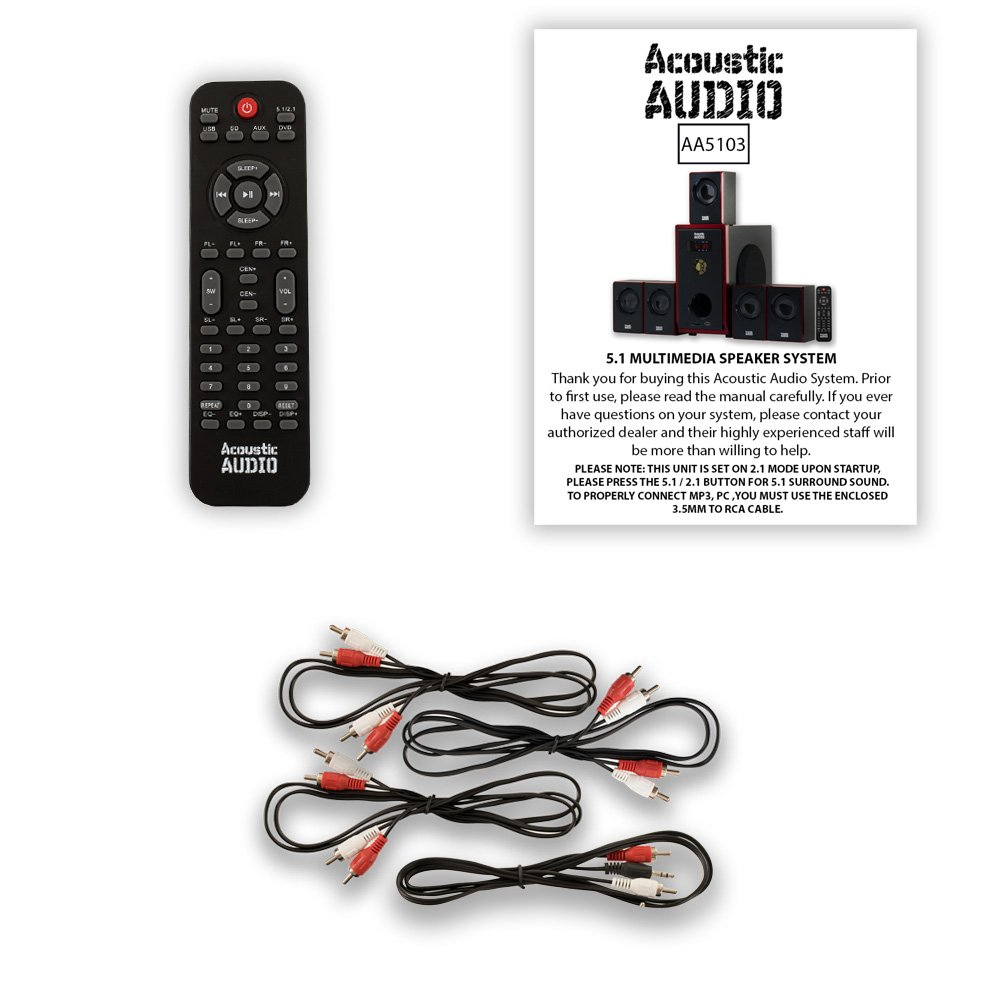 Acoustic Audio Aa5103 51 Surround Sound Home Theater Wiring Entertainment System
