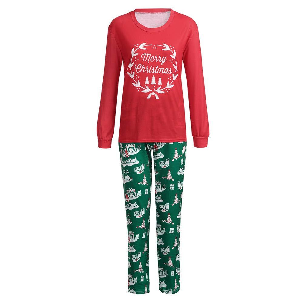 Mlide Red Green Merry Christmas Garland Christmas Scene Print,Shirt and Pants Set 2Pcs Sleep Nightwear