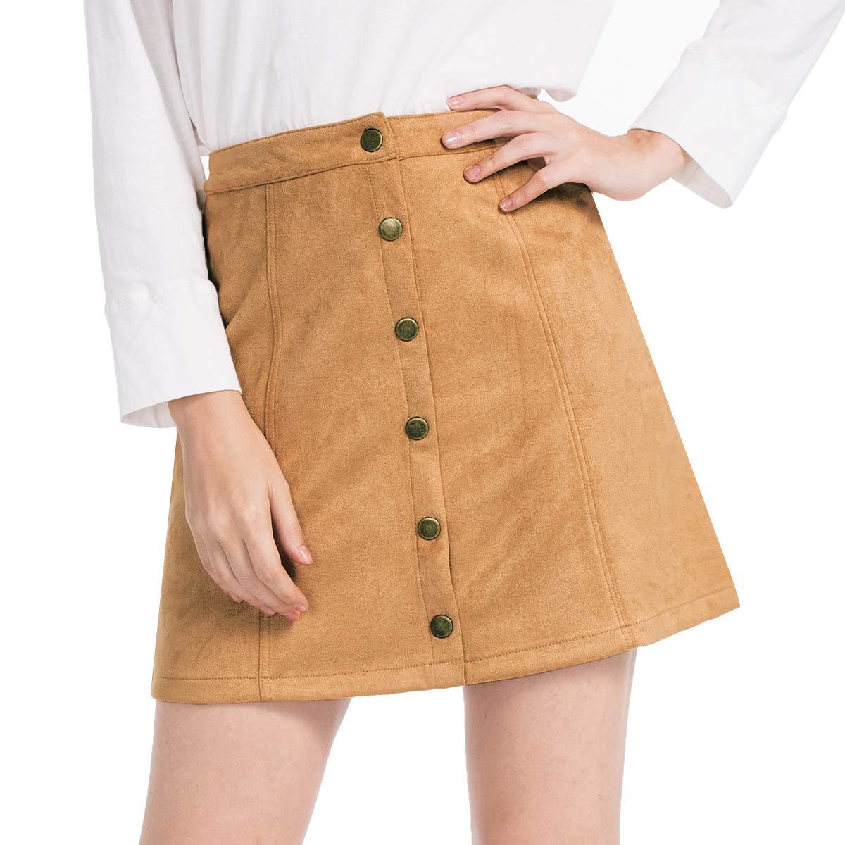 JTANIB Women's Faux Suede Button Closure Plain A-Line High Waist Mini Skirts Brown by JTANIB