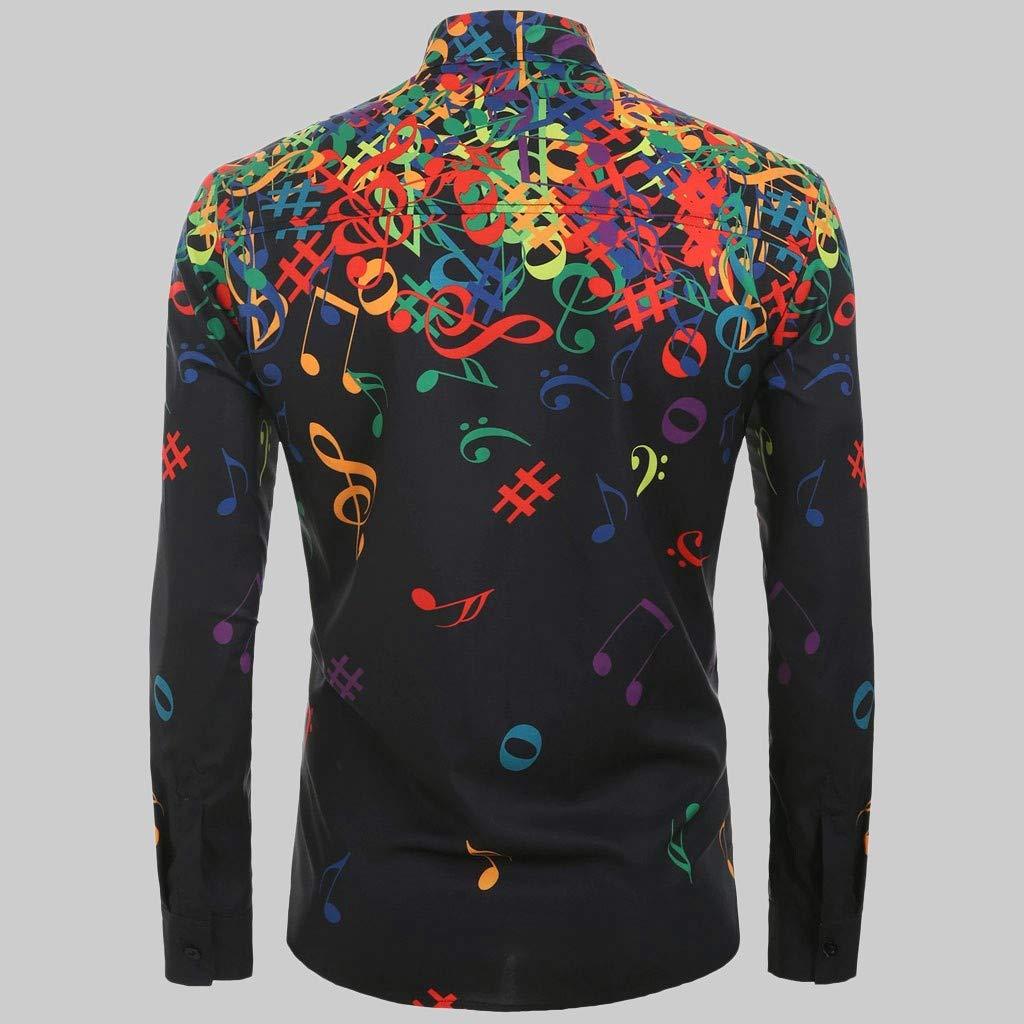 Lemoning Men Casual Novelty Musical Note Pattern Casual Long Sleeves Shirt Top Blouse