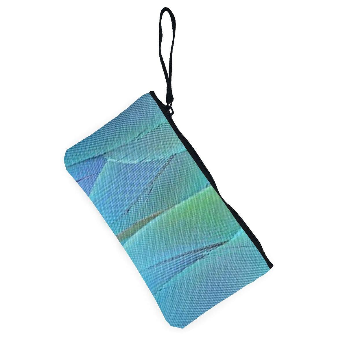 Canvas Cash Coin Purse,Blue Parrot Feather Print Make Up Bag Zipper Small Purse Wallets