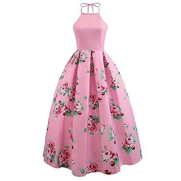 Vestidos de Fiesta Para Bodas LILICAT® Vestido Largo Estampado Floral sin Mangas de Verano Sexy