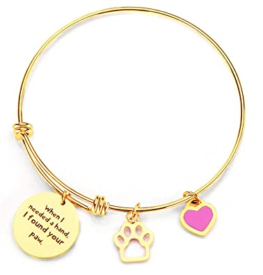 87ab1ed5045f5 Borivilla Inspirational Wire Bangle Paw Print Charm Adjustable Expandable  Bracelet Women Girl When I Needed A Hand I Found Your Paw Dog Lover Gift