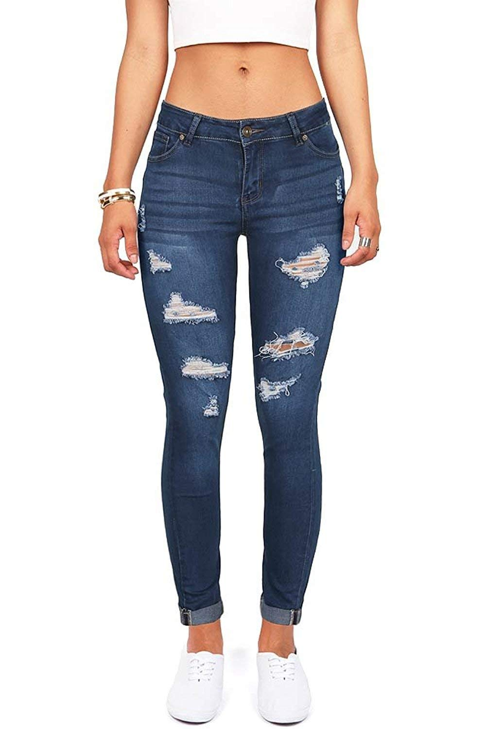 Women's High Waisted Butt Lift Stretch Ripped Skinny Jeans Distressed Denim Pants US 4 Blue 35 by Skirt BL