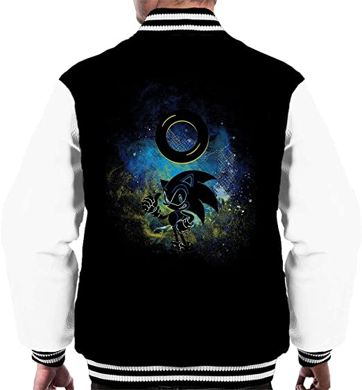 Sonic The Hedgehog And Ring Outline Mens Varsity Jacket