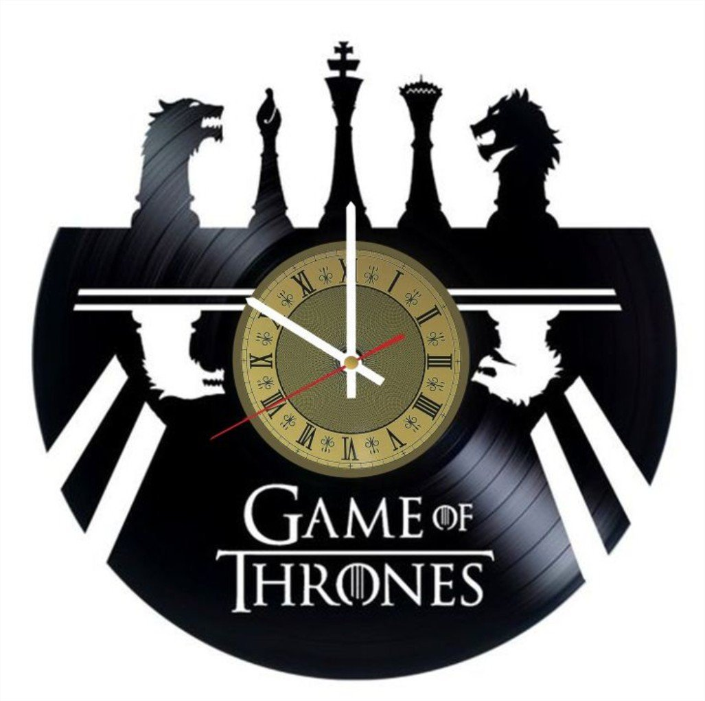 Game of Thrones vinyl wall clock chess design great gift for men, women, kids, girls and boys, birthday, christmas beautiful home decor - unique design that made out of vinyl LP record
