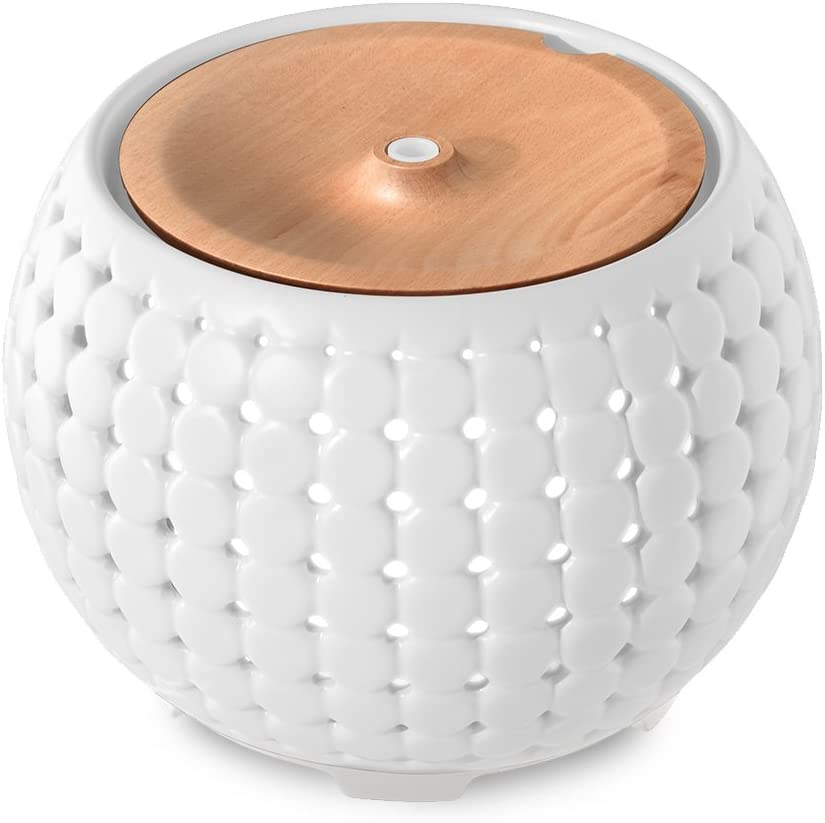 Ellia, Gather Ultrasonic Aroma Diffuser, White, Ceramic & Wood, 200mL Humidifier with Color-Changing Light & Mood Sounds, 10 Hours Continuous Runtime, 20 Hours Intermittent Runtime, 3 Oil Samples