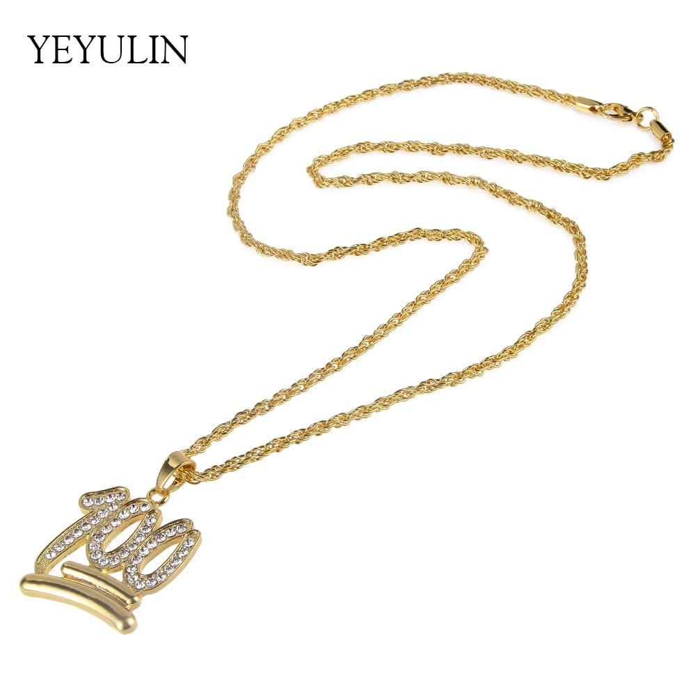 Davitu Bright Gold Color Hip Hop Style 100 Points Perfect Symbol Pendant Necklace Full Rhinestone Bling Necklaces Jewelry for Unisex