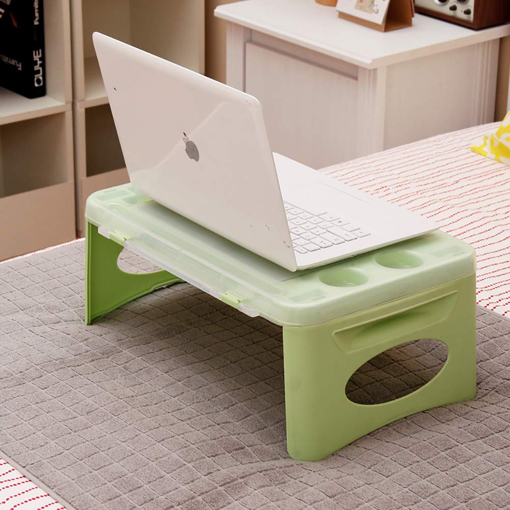 Yajun Foldable Laptop Bed Desk Tray Multifunction Notebook Table Fashion Computer Stand Easy Storage Breakfast Reading Bracket Green