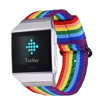 Fitbit Ionic Correa, Bandmax Correa de Nailon de Arco Iris LGBTQ Reemplazo Wristband Pulseras de repuesto para Fitbit Ionic Fitness con Hebilla ...