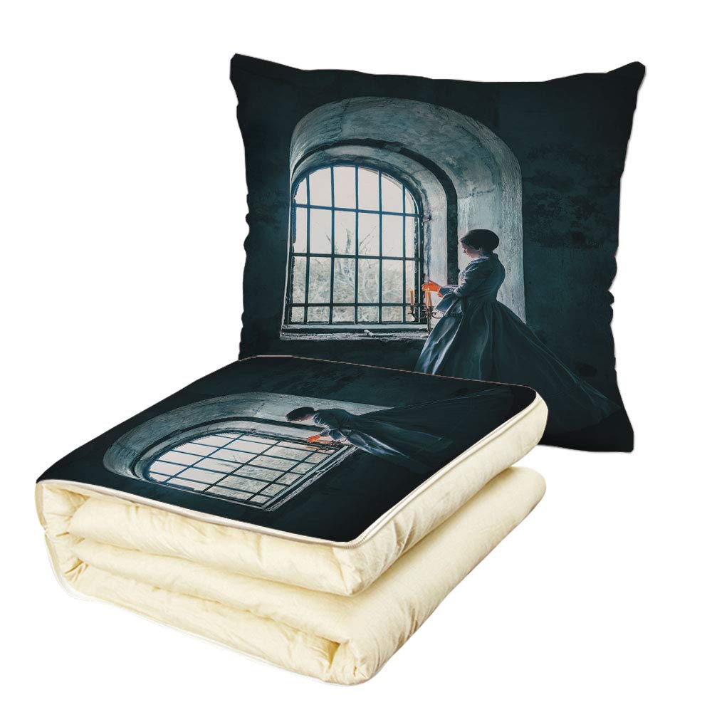 Quilt Dual-Use Pillow Medieval Decor Woman with Victorian Dress in Front of a Middle Age Style Window Gothic Dramatical Art Photo Multifunctional Air-Conditioning Quilt Blue