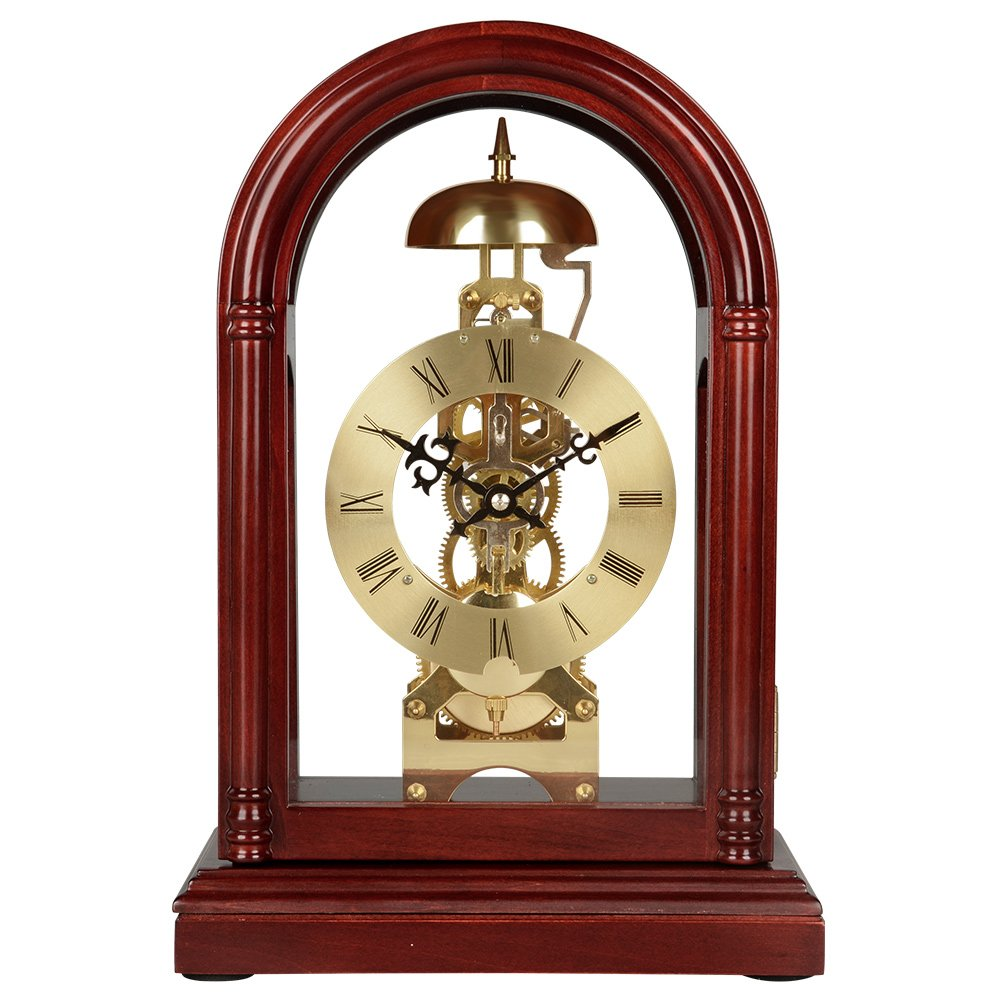 HENSE Regulator Mechanical Wind-Up Mantel Chime Clocks with Clear Doors on Front & Back Side HD13 (Brown) by Hense