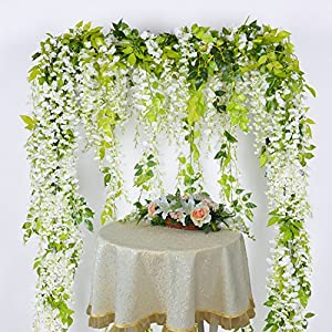 Lvydec Wisteria Artificial Flowers Garland, 4Pcs Total 28.8ft White Artificial Wisteria Vine Silk Hanging Flower for Home Garden Outdoor Ceremony Wedding Arch Floral Decor 3