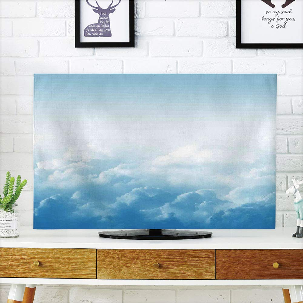 iPrint LCD TV Cover Lovely,Clouds,Fluffy Clouds High Above Ground Mass of Condensed Water Vapor Floating Dream Image,Blue White,Diversified Design Compatible 47'' TV