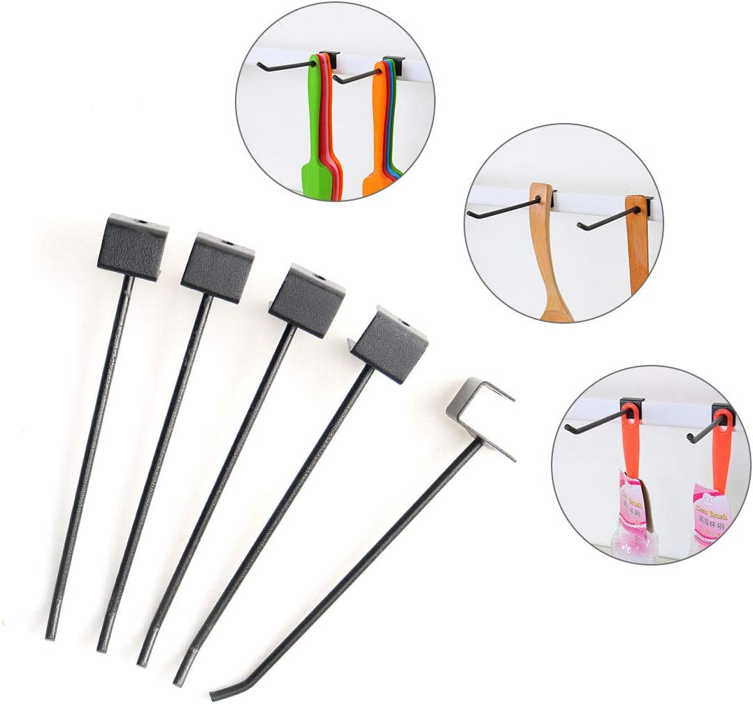 uxcell 20pcs 5.6 Inch Length Slat Wall Hook 1//8 Inch Dia Metal Panel Hooks Display Rack for Garage Retail Store Display Products