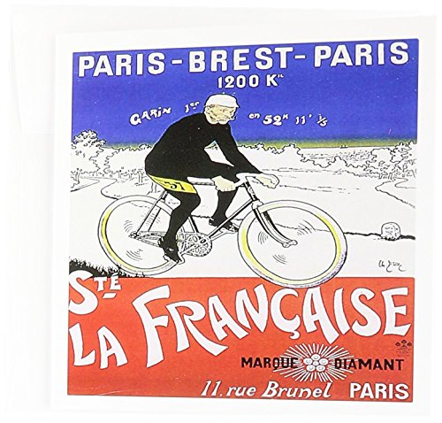 - 3dRose La Francaise Paris France Vintage Bicycle Advertising Poster - Greeting Cards, 6 x 6 inches, set of 12 (gc_153251_2)