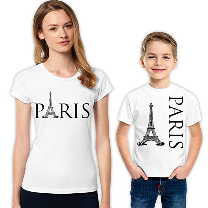 fa07555a8 Amazon.com: Paris and Eiffel Mother and Son Matching Family T-Shirt ...