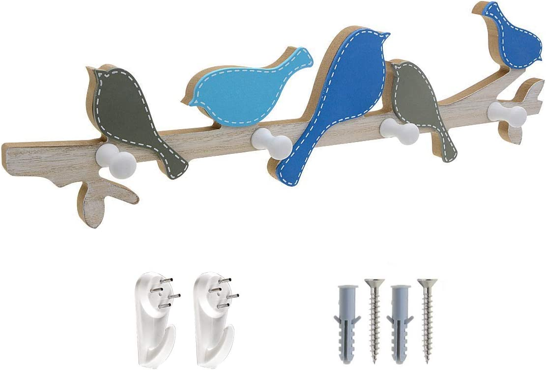 Saim Perchero de pared con diseño de pájaros, de madera, creativo, para decoración del hogar, pájaros, ganchos de pared con 4 ganchos para abrigos, sombreros, bufandas, llaves, toallas, ropa