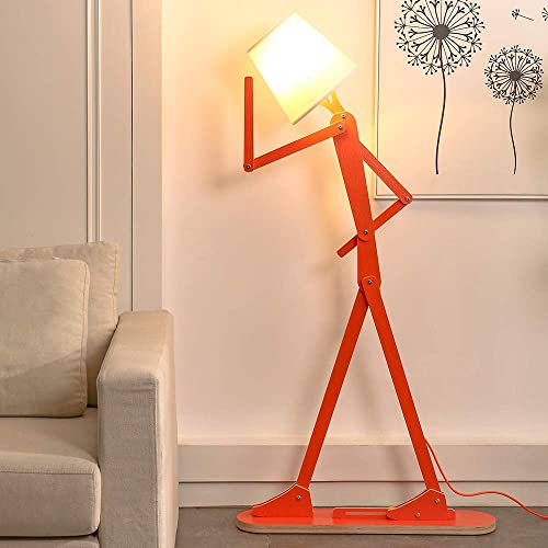 HROOME Cool Creative Floor Lamps Wood Tall Decorative Reading Standing Swing Arm Light