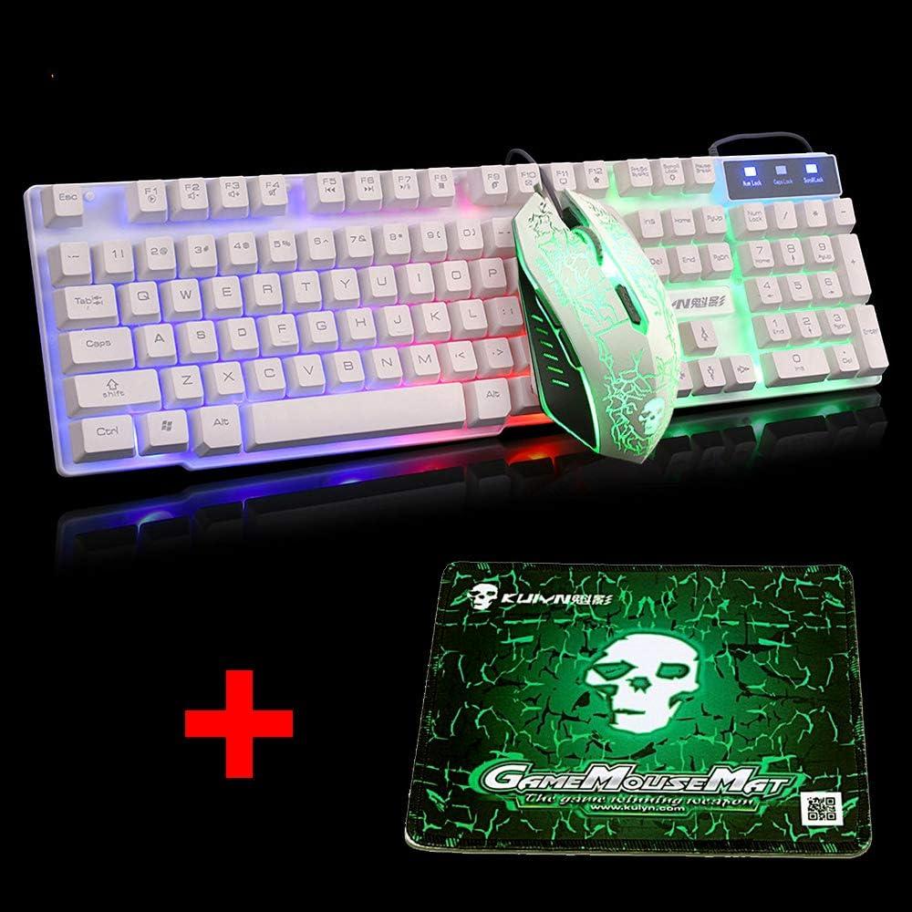 UrChoiceLtd Arco Iris Retroiluminado Ergonómico Teclado De Juego USB + 2400DPI 6 Botones óptico Arco Iris LED USB Ratón De Juego + GRATIS Ratón De ...