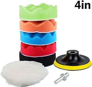Yosoo 7Pcs 5/6/7' Sponge Polishing Waxing Buffing Pads Kit Set Compound Auto Car Polisher + M14 Drill Adapter Kit (4')