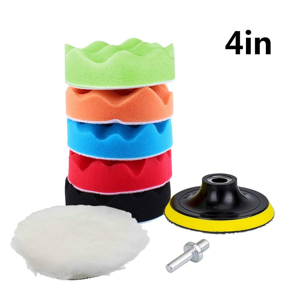 Yosoo 7Pcs 5/6/7' Sponge Polishing Waxing Buffing Pads Kit Set Compound Auto Car Polisher + M14 Drill Adapter Kit (6')