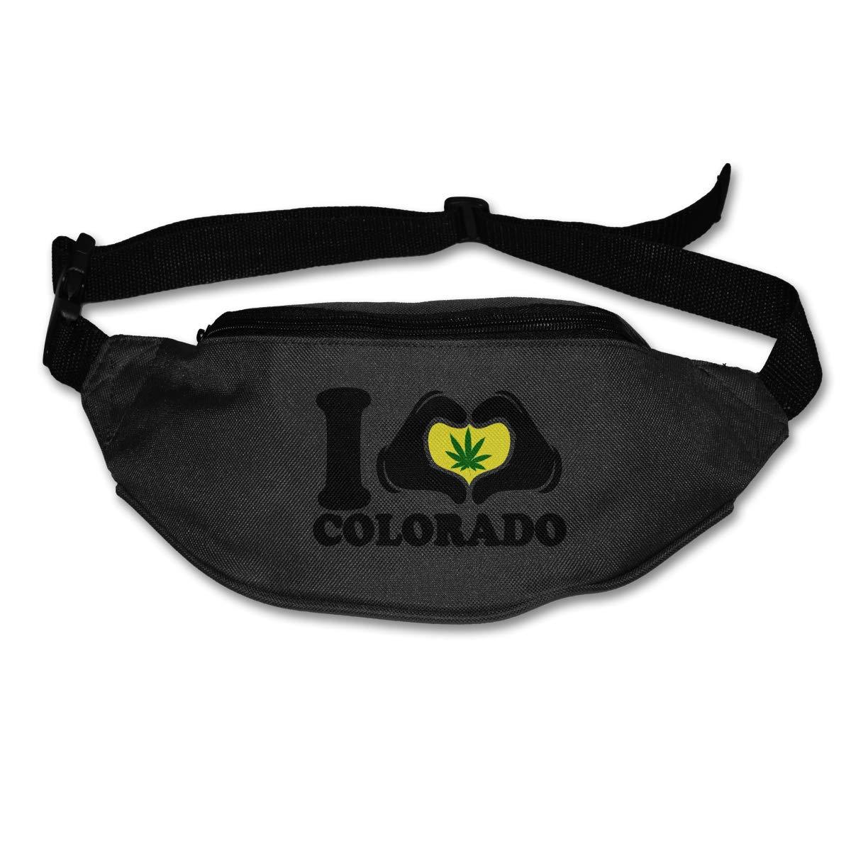 I Love Colorado Funny Weed Pot Leaf Marijuana Waist Pack Fanny Pack For Travel