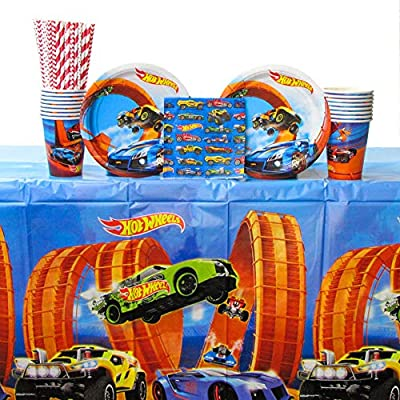 Hot Wheels Wild Racer Party Supplies Pack for 16 Guests - Straws, Dessert Plates, Beverage Napkins, Cups, and Table Cover