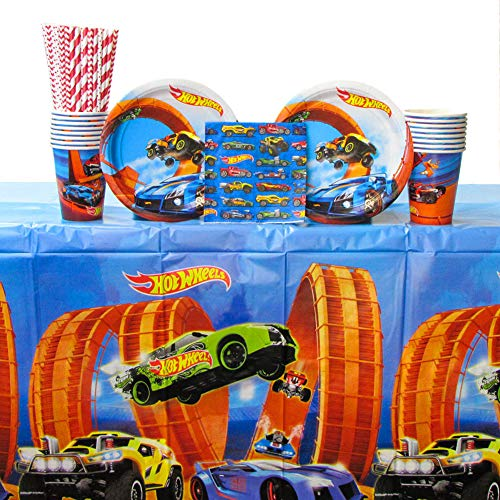 Hot Wheels Wild Racer Party Supplies Pack for 16 Guests - Straws, Dessert Plates, Beverage Napkins, Cups, and Table Cover -